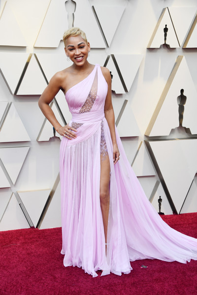 91st Annual Academy Awards - Arrivals [dress,gown,clothing,shoulder,fashion model,carpet,flooring,red carpet,a-line,bridal party dress,arrivals,meagan good,academy awards,hollywood,highland,california,annual academy awards]