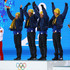 Marcus Hellner Lars Nelson Photos - (L-R) Gold medalists Lars Nelson, Daniel Richardsson, Johan Olsson and Marcus Hellner of Sweden celebrate on the podium during the medal ceremony for the Cross Country MenÂ's 4 x 10 km Relay on day ten of the Sochi 2014 Winter Olympics at the Medals Plaza on February 17, 2014 in Sochi, Russia. - Medal Ceremony - Winter Olympics Day 10