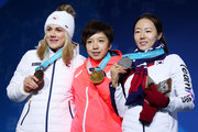 (L-R) Bronze medalist Karolina Erbanova of the Czech Republic, gold medalist Nao Kodaira of Japan and silver medalist Sang-Hwa Lee of Korea celebrate during the medal ceremony for Speed Skating - Ladies' 500m on day 11 of the PyeongChang 2018 Winter Olympic Games at Medal Plaza on February 20, 2018 in Pyeongchang-gun, South Korea.
