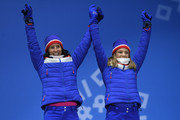 Bronze medalists Maiken Caspersen Falla and Marit Bjoergen of Norway celebrate during the medal ceremony for Cross-Country Skiing - Ladies' Team Sprint Free on day 13 of the PyeongChang 2018 Winter Olympic Games at Medal Plaza on February 22, 2018 in Pyeongchang-gun, South Korea.