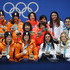 Miho Takagi Heather Bergsma Photos - Silver medalists Marrit Leenstra, Lotte Van Beek, Ireen Wust and Antoinette De Jong of the Netherlands, gold medalists Miho Takagi, Ayaka Kikuchi, Ayano Sato and Nana Takagi of Japan and bronze medalists Heather Bergsma, Brittany Bowe, Mia Manganello and Carlijn Schoutens of the United States celebrate during the medal ceremony for Speed Skating - Ladies' Team Pursuit on day 13 of the PyeongChang 2018 Winter Olympic Games at Medal Plaza on February 22, 2018 in Pyeongchang-gun, South Korea. - Medal Ceremony - Winter Olympics Day 13