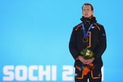 Gold medalist Stefan Groothuis of the Netherlands celebrates during the medal ceremony for the Speed Skating Men's 1000m on day six of the Sochi 2014 Winter Olympics at Medals Plaza on February 13, 2014 in Sochi, Russia.