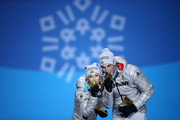 Gold medalists Aljona Savchenko and Bruno Massot of Germany celebrate during the medal ceremony for the Pair Skating Free Skating on day six of the PyeongChang 2018 Winter Olympic Games at Medal Plaza on February 15, 2018 in Pyeongchang-gun, South Korea.