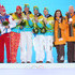 (L-R) Silver medalists Russia, gold medalists Germany and bronze medalists Latvia celebrate on the podium during the medal ceremony for the Luge Team Relay on day 7 of the Sochi 2014 Winter Olympics at Medals Plaza on February 14, 2014 in Sochi, Russia. - 2 of 10