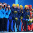 Claudia Nystad Photos - (L-R) Silver medalists Finland, gold medalists Sweden and bronze medalists Germany celebrate on the podium during the medal ceremony for the Women's 4 x 5 km Relay on day 9 of the Sochi 2014 Winter Olympics at Medals Plaza on February 16, 2014 in Sochi, Russia. - Medal Ceremony - Winter Olympics Day 9