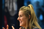 Laureus Academy Member Missy Franklin talks during media interviews at the Mercedes Benz Building prior to the Laureus World Sports Awards on February 16, 2020 in Berlin, Germany.