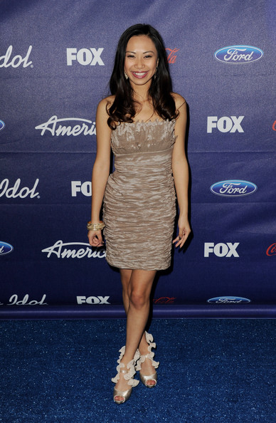 Singer Jessica Sanchez arrives at Fox's American Idol finalist party at The Grove on March 1, 2012 in Los Angeles, California.