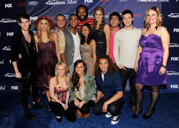 Final 13 contestants (L-R, front row) Hollie Cavanaugh, Skylar Laine and DeAndre Brackensick, (L-R, standing) Colton Dixon, Elise Testone, Jeremy Rosado, Joshua Ledet, Jermaine Jones, Jessica Sanchez, Shannon Magrane, Heejun Han and Phillip Phillips arrive at Fox's American Idol finalist party at The Grove on March 1, 2012 in Los Angeles, California.