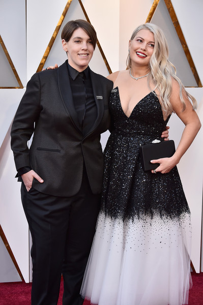 90th Annual Academy Awards - Arrivals [carpet,clothing,red carpet,dress,fashion,hairstyle,flooring,gown,shoulder,formal wear,arrivals,megan ellison,drew denny,academy awards,hollywood highland center,california,l,90th annual academy awards]