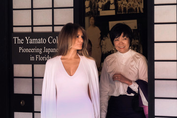 Melania Trump US First Lady Melania Trump and Akie Abe, Wife of Japanese Prime Minister Shinzo Abe, Tour Morikami Museum and Japanese Gardens