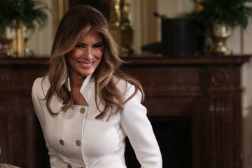 Melania Trump Donald Trump Holds Joint Press Conference With Israeli PM Netanyahu
