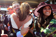 Tom Waterhouse, Kate Waterhouse, Hoda Waterhouse, and Luke Ricketson celebrate as the Gai Waterhouse trained horse Fiorente wins the Melbourne Cup during Melbourne Cup Day at Flemington Racecourse on November 5, 2013 in Melbourne, Australia.