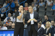 Referee Lauren Holtkamp #7 talks to Billy Donovan coach of the Oklahoma City Thunder during the first half of a NBA preseason game against at the Chesapeake Energy Arena on   October 8, 2017 in Oklahoma City, Oklahoma. NOTE TO USER: User expressly acknowledges and agrees that, by downloading and or using this photograph, User is consenting to the terms and conditions of the Getty Images License Agreement.