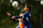 Matthew Kemp of the Victory competes with Rodrigo Vargas during a Melbourne Victory A-League training session at Gosch's Paddock on October 20, 2011 in Melbourne, Australia.