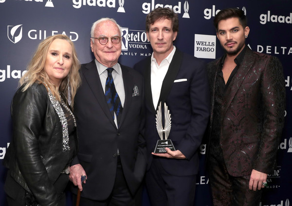 29th Annual GLAAD Media Awards - Backstage [premiere,event,suit,white-collar worker,glaad media awards,backstage,l-r,outstanding film-wide release award,call me by your name,the hilton midtown,melissa etheridge,james ivory,peter spears,adam lambert]