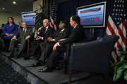 (L-R) U.S. Rep. Steve King (R-IA), Sen. Orrin Hatch (R-UT), Rep. Allen West (R-FL), and Sen. Mike Lee (R-UT) attend a Tea Party Town Hall meeting February 8, 2011 at the National Press Club in Washington, DC. The town hall meeting was held by the Tea Party Express and Tea Party HD to address issues Tea Party members were concerned over.