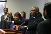 Rep. Gregory Meeks (D-NY) (C), speaks about Hillary Clinton while flanked by members of the Congressional Black Caucus, during a news conference at the DNC headquarters on Capitol Hill, February 11, 2016 in Washington, DC. The CBC announced that they are endorsing former Secretary of State, Hillary Clinton, for the Democratic nomination for President