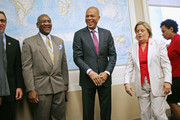 Haiti President Michel Martelly (C) poses for photographs with members of the House Foreign Affiars Committee (L-R) Rep. Matt Salmon (R-AZ), Rep. Gregory Meeks (D-NY), Rep. Ileana Ros-Lehitnen (R-FL) and Congressional Black Caucus member Rep. Barbara Lee (D-CA) before a meeting in the Rayburn House Office Building on Capitol Hill February 5, 2014 in Washington, DC. Martelly likely will be pressured to hold long-delayed national and municipal elections during his meetings with members of Congress, Secretary of State John Kerry and President Barack Obama this week.