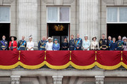 (L-R) Prince and Princess Michael of Kent, Prince Edward, Earl of Wessex, Sophie, Countess of Wessex, Prince Charles, Prince of Wales, Prince Andrew, Duke of York, Camilla, Duchess of Cornwall, Queen Elizabeth II, Meghan, Duchess of Sussex, Prince Harry, Duke of Sussex, Prince William, Duke of Cambridge, Catherine, Duchess of Cambridge, Anne, Princess Royal,  Vice Admiral Sir Timothy Laurence, Prince Richard, Duke of Gloucester, Birgitte, Duchess of Gloucester, Prince Edward, Duke of Kent and Katharine, Duchess of Kent watch the RAF flypast on the balcony of Buckingham Palace, as members of the Royal Family attend events to mark the centenary of the RAF on July 10, 2018 in London, England.