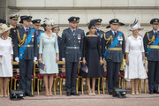 (L-R) Camilla, Duchess of Cornwall, Prince William, Duke of Cambridge, Catherine, Duchess of Cambridge, Prince Harry, Duke of Sussex, Meghan, Duchess of Sussex, Prince Andrew, Duke of York, Sophie, Countess of Wessex and Prince Edward, Earl of Wessex during the RAF 100 ceremony at Buckingham Palace, as members of the Royal Family attend events to mark the centenary of the RAF on July 10, 2018 in London, England.