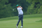 Jason Dufner hits his second shot on the 10th hole during the first round of The Memorial Tournament Presented by Nationwide at Muirfield Village Golf Club on May 31, 2018 in Dublin, Ohio.