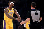 Dwight Howard #39 of the Los Angeles Lakers argues his foul call with referee David Guthrie #16  during the first quarter at Staples Center on February 21, 2020 in Los Angeles, California.  NOTE TO USER: User expressly acknowledges and agrees that, by downloading and or using this photograph, User is consenting to the terms and conditions of the Getty Images License Agreement.