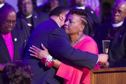 "Martin Luther King III (L) and his sister Bernice King hug as they attend the I AM 2018 ""Mountaintop Speech"" Commemoration at the Mason Temple Church of God in Christ, the same place their father, Martin Luther King, Jr. delivered his ""Mountaintop"" speech on the eve of his assassination, April 3, 2018 in Memphis, Tennessee. The city is commemorating the 50th anniversary of King's assassination on April 4, 1968."