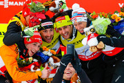 (FRANCE OUT) Johannes Rydzek,Eric Frenzel of Germany takes 2nd place, Francois Braud, Jason Lamy Chappuis of France takes 1st place, Magnus Hovdal Moan, Havard Klemetsen of Norway takes 3rd place   during the FIS Nordic World Ski Championships Men's Nordic Combined Team Sprint on February 28, 2015 in Falun, Sweden.