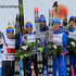 (L-R) Dietmar Noeckler and Federico Pellegrino of second placed Team Italy, Sergey Ustiugov and Nikita Kriukov of winning Team Russia and Iivo Niskanen and Sami Jauhojaervi third placed Team Finland pose after the Men's and Women's Cross Country Team Sprint Final during the FIS Nordic World Ski Championships on February 26, 2017 in Lahti, Finland.