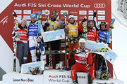 (FRANCE OUT) John Teller of the USA, Jouni Pellinen of Finland, Armin Niederer of Switzerland, Anna Woerner of Germany, Kelsey Serwa of Canada, Ophelie David of France during the FIS Freestyle Ski World Cup Men's and Women's Ski Cross on January 16, 2013 in Megeve, France.