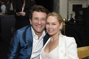 (L-R) Robert Herjavec and Kym Johnson attend the Mercedes-Benz Academy Awards Viewing Party at The Four Seasons Hotel Los Angeles at Beverly Hills on February 09, 2020 in Los Angeles, California.
