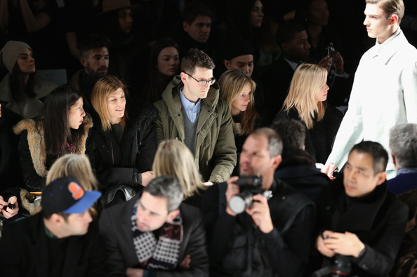 Lacoste - Front Row - Fall 2013 Mercedes-Benz Fashion Week [people,event,audience,crowd,fashion,performance,choir,editor in chief,gloria baume,virginia smith of vogue,mark holgate,amy astley,lacoste - front row,teen vogue,vogue,mercedes-benz fashion week,fashion show]