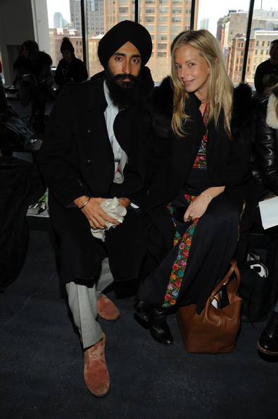 Front Row at the Theory Show [fashion,outerwear,costume,event,fur,fashion design,black hair,waris ahluwalia,meredith melling burke,actor,theory show,front row,new york city,l,vogue,spring studios,fashion show]