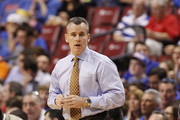 Head coach Billy Donovan of the Florida Gators looks on during first half action against the Fresno State Bulldogs during the MetroPCS Orange Bowl Basketball Classic on December 21, 2013 at the BB&T Center in Sunrise, Florida. Florida defeated Fresno State 66-49.