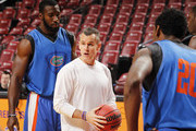 Head coach Billy Donovan of the Florida Gators directs the players during the shoot-around prior to the game against the Fresno State Bulldogs during the MetroPCS Orange Bowl Basketball Classic on December 21, 2013 at the BB&T Center in Sunrise, Florida.