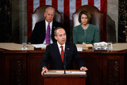Mexican President Felipe Calderon (C) addresses a joint session of the U.S. Congress on the floor of the House House of Representatives with Vice President Joe Biden (L) and Speaker of the House Nancy Pelosi (D-CA) at the U.S. Captiol May 20, 2010 in Washington, DC. Calderon met with President Barack Obama at the White House Wednesday where the two leaders discussed the ongoing drug war along the U.S.-Mexico border and the recent anti-illegal immigration law passed in Arizona.