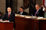 Mexican President Felipe Calderon (L) addresses a joint session of the U.S. Congress on the floor of the House House of Representatives with Vice President Joe Biden (2nd R) and Speaker of the House Nancy Pelosi (D-CA) at the U.S. Captiol May 20, 2010 in Washington, DC. Calderon met with President Barack Obama at the White House Wednesday where the two leaders discussed the ongoing drug war along the U.S.-Mexico border and the recent anti-illegal immigration law passed in Arizona.
