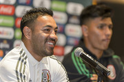 Marco Fabian and Jesus Gallardo of Mexico look on during a press conference ahead Mexico's National Team match agains Costa Rica at Hotel Milenium on October 10, 2018 in Monterrey, Mexico.