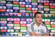 Andres Guardado of Mexico, speaks during a press conference at Training Base Novogorsk-Dynamo, on June 29, 2018 in Moscow, Russia.