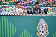 Andres Guardado and Alfredo Talavera of Mexico, speak during a press conference at Training Base Novogorsk-Dynamo, on June 29, 2018 in Moscow, Russia.