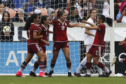 Kiana Palacios #18 of Mexico is congratulated by Kenti Robles #2 and Ariana Calderon #8 after a  goal in the first half against the United States at BBVA Compass Stadium on April 8, 2018 in Houston, Texas.