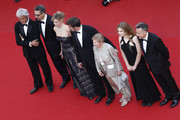 "Domenico Procacci, John Turturro, Margherita Buy, Nanni Moretti , Giulia Lazzarini, Beatrice Mancini and Paolo Del Brocco attend the Premiere of ""Mia Madre"" (""My Mother"") during the 68th annual Cannes Film Festival on May 16, 2015 in Cannes, France."
