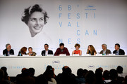 "(L-R) Francesco Piccolo, Valia Santella, Guilia Lazzarini actor John Turturro, director Nanni Moretti, actresses Margherita Buy and Beatrice Mancini, Domenico Procacci and Paolo Del Brocco attend the press conference for ""Mia Madre"" (""My Mother"") during the 68th annual Cannes Film Festival on May 16, 2015 in Cannes, France."