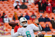 Quarterback Jay Cutler #6 of the Miami Dolphins throws a pass warming up prior to the game against the Kansas City Chiefs at Arrowhead Stadium on December 24, 2017 in Kansas City, Missouri.