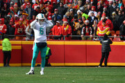 Quarterback Jay Cutler #6 of the Miami Dolphins has trouble hearing the play call during the second quarter of the game against the Kansas City Chiefs at Arrowhead stadium on December 24, 2017 in Kansas City, Missouri.