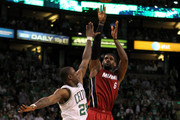 LeBron James #6 of the Miami Heat attempts a shot in the second half against Mickael Pietrus #28 of the Boston Celtics in Game Six of the Eastern Conference Finals in the 2012 NBA Playoffs on June 7, 2012 at TD Garden in Boston, Massachusetts. NOTE TO USER: User expressly acknowledges and agrees that, by downloading and or using this photograph, User is consenting to the terms and conditions of the Getty Images License Agreement.