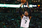 Jared Sullinger #7 of the Boston Celtics takes a jump shot during the fourth quarter against the Miami Heat at TD Garden on February 27, 2016 in Boston, Massachusetts. The Celtics defeat the Heat 101-89.