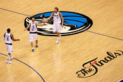 (L-R) Shawn Marion #0, Jason Kidd #2 and Dirk Nowitzki #41 of the Dallas Mavericks celebrate a play in the first half against the Miami Heat in Game Five of the 2011 NBA Finals at American Airlines Center on June 9, 2011 in Dallas, Texas.  NOTE TO USER: User expressly acknowledges and agrees that, by downloading and/or using this Photograph, user is consenting to the terms and conditions of the Getty Images License Agreement.