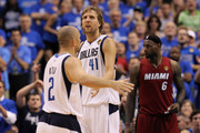 (L-R) Jaosn Kidd #2 and Dirk Nowitzki #41 of the Dallas Mavericks celebrate a play as LeBron James #6 of the Miami Heat looks on in Game Four of the 2011 NBA Finals at American Airlines Center on June 7, 2011 in Dallas, Texas. The Mavericks won 86-83.  NOTE TO USER: User expressly acknowledges and agrees that, by downloading and/or using this Photograph, user is consenting to the terms and conditions of the Getty Images License Agreement