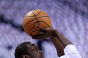 Luol Deng #9 of the Miami Heat warms up prior to Game Seven of the Eastern Conference Quarterfinals against the Toronto Raptors during the 2016 NBA Playoffs at the Air Canada Centre on May 15, 2016 in Toronto, Ontario, Canada.  NOTE TO USER: User expressly acknowledges and agrees that, by downloading and or using this photograph, User is consenting to the terms and conditions of the Getty Images License Agreement.